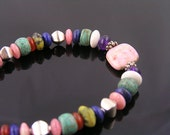 Semi Precious Gemstone Rondelle Bracelet, Sterling Silver Beads and Toggle Clasp, Sterling Bracelet, Southwestern Jewelry