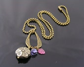 Pyrite Flower, Iolite and Pink Sapphire Necklace, Flower Necklace, Carved Gemstone Flower