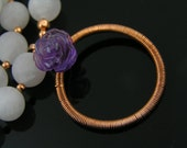 Matte Rose Quartz Necklace with wire wrapped Circle Pendant and Carved Amethyst Flower, Pink and Purple Necklace