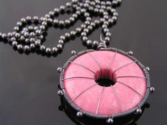 Pink Rhodonite Wheel of Eternity, Wire Wrapped Donut Gemstone on Oxidized Ball Chain, Pink and Black Jewelry