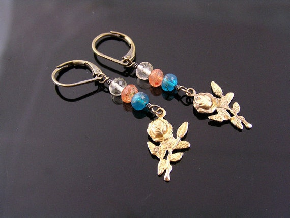Sunstone Earrings, Rose Earrings with Apatite, Sunstone and Rock Quartz, Gemstone Earrings, Gem Jewelry, Charm Earrings, Flower Earrings