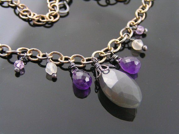 Gray Moonstone and Amethyst Necklace, Moonstone Jewelry