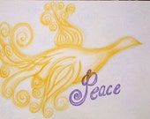 Peace Bird ACEO Print From Original Color Pencil Drawing