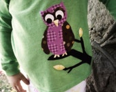 Prissy owl PATCH, iron on applique, DIY