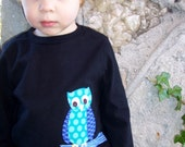 Night owl t-shirt, s\/s, boys, 2T, 3T, 4T (5-6) black, white or gray
