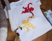 Monkey friends t-shirt, boy or girl, l\/s, 2T, 3T, 4T, (4-5) (6-7)