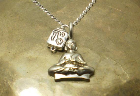 Meditating Buddha and Lotus necklace
