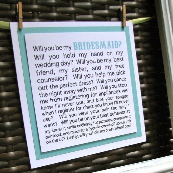 Will you be my Bridesmaid funny card, Will you be my Bridesmaid card, funny Bridesmaid card, Maid of Honor, Matron of Honor, Aqua wedding