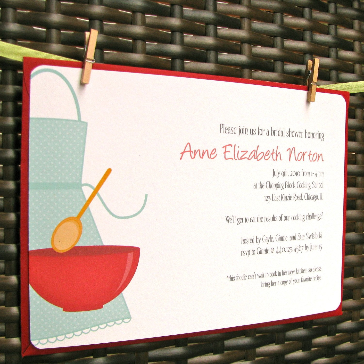 Kitchen Bridal Shower Invitations COOKING Themed By Greencard