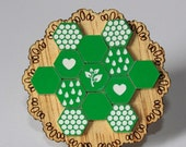 Green and White Patchwork Doily Brooch - laser cut Tasmanian Oak Timber Wood, Acrylic hexagon, geometric, heart, vintage design, pin
