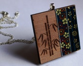 Wooden Japanese Bamboo and Blue Flowers Necklace - Laser cut square Tasmanian Myrtle Timber Wood Chiyogami Washi Pendant and Sterling Silver