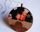 Wooden Japanese Cherry Blossom Flower Necklace, Red, Black Chiyogami, Washi Tasmanian Myrtle timber wood floral Japan pendant, silver chain
