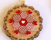 Red Heart Patchwork Wooden Doily Necklace - Tasmanian oak timber wood and acrylic folk art vintage design pendant sterling silver chain