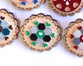 Green and Black Patchwork Doily Brooch - laser cut Tasmanian Oak Timber Wood, Acrylic hexagon, geometric, heart, vintage design, pin
