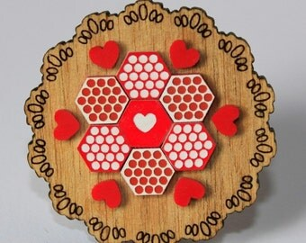 Red and White Patchwork Doily Brooch - laser cut Tasmanian Oak Timber Wood, Acrylic hexagon, geometric, heart, vintage design, pin