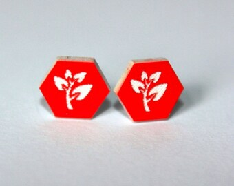 Red Tree Hexagon Stud Earrings, laser cut acrylic geometric, surgical steel studs