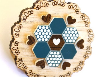Teal and Brown Patchwork Doily Brooch - laser cut Tasmanian Oak Timber Wood, Acrylic hexagon, geometric, heart, vintage design, pin