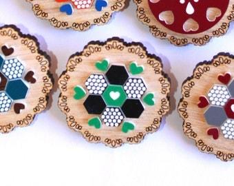 Green and Black Patchwork Doily Brooch - laser cut Tasmanian Oak Timber Wood, Acrylic hexagon, geometric, heart, vintage design, pin