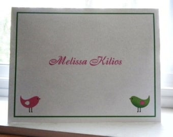 Pink and Green Bird Personalized Stationery Set (set of 10 folded cards)