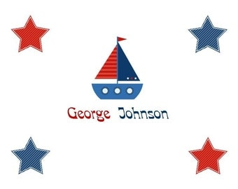 Red, White and Blue Sailboat Personalized Stationery (set of 10 folded notes)