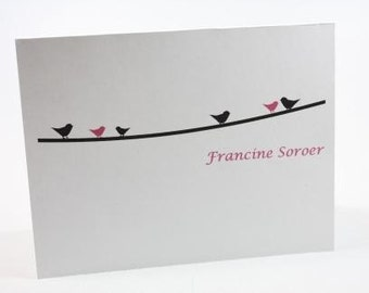 Pink and Black Birds on a Vine Personalized Stationery Set (set of 10 folded cards)