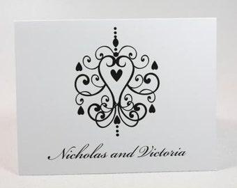 Elegant Heart Chandelier Personalized Stationery Set (set of 10 folded cards)