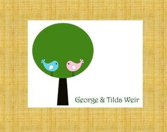 Lovebirds in a Tree Personalized Stationery (set of 10 folded notes)
