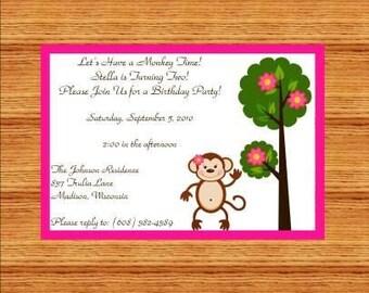 Cute Girl Monkey by a Tree Invitations
