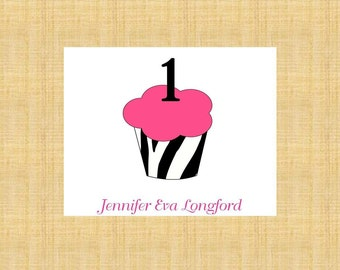 Zebra First Birthday Cupcake Personalized Stationery (set of 10 folded cards)