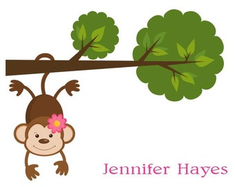 Adorable Girl Monkey Hanging from a Tree Personalized Stationery (set of 10 folded notes)