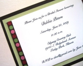 Brown and Sage Invitations with Chic Ribbon