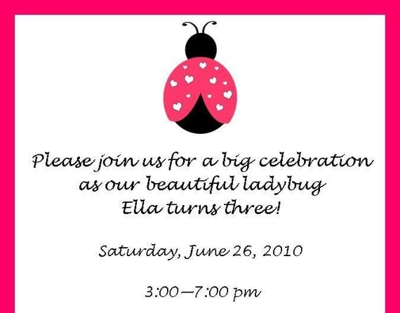 Cute Pink Ladybug with Hearts Invitations