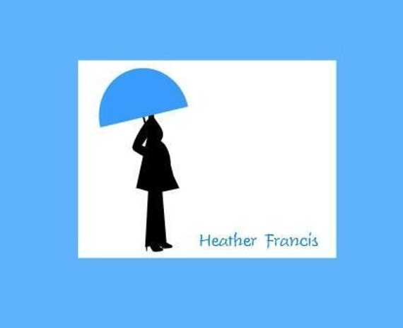 Silhouette of Pregnant Woman with Umbrella Personalized Stationery (set of 10 folded notes)