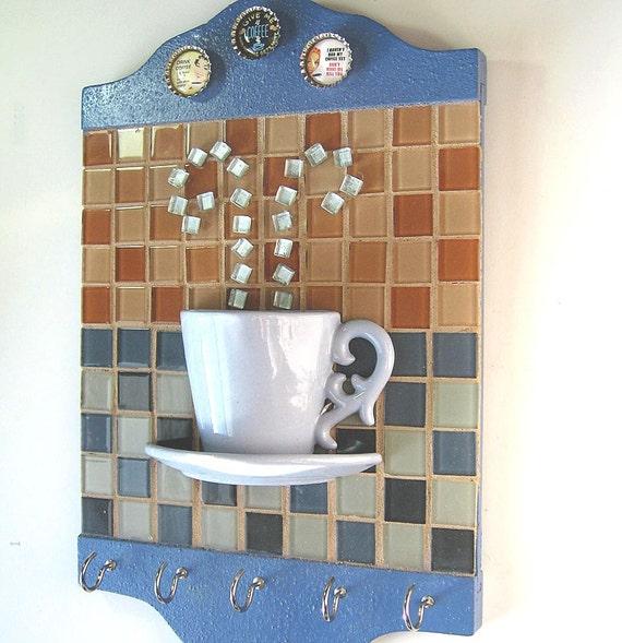 Kitchen Hooks - Coffee Cup Mosaic Kitchen Towel Hook - Key Hook- Wall Hanging