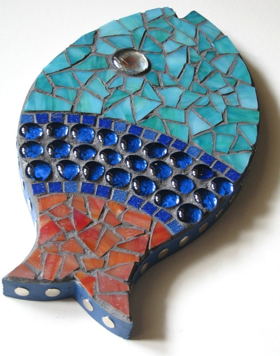 Red Mosaic Wall Decor : Red fish blue mosaic wall art