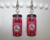 Cherry Earrings - Food Jewelry - Bottle of Cherries - Food Earrings