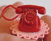 Retro Red Rotary Telephone Ring - Adjustable