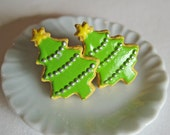 Christmas Tree Sugar Cookie Earrings - Food Jewelry