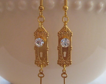 Door Knob Earrings - Key Earrings - Gold Earrings - Alice in Wonderland Jewelry