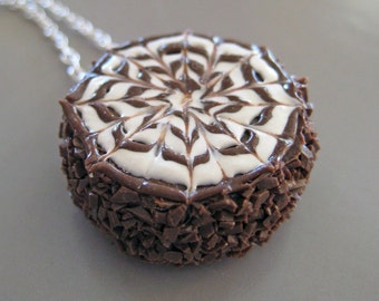 Chocolate Cake Necklace - Food Jewelry - Food Necklace - Polymer Clay