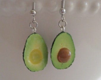 Avocado Earrings  - Food Earrings - Avocado Jewlery - Food Jewelry - Vegan Gift - Fruit Earrings - Mini Food Jewelry