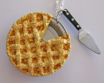 Food Jewelry, Apple Pie Necklace -Dollhouse Miniatures