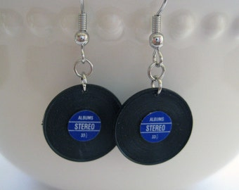 Miniature Vinyl Record Earrings - Music Earrings, 1980s, Album Jewelry, Record Jewelry, Music Jewelry