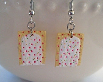 Food Jewelry - Strawberry Pop Tarts Earrings - Mini Toaster Pastry