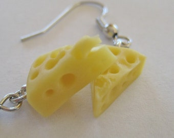 Food Jewelry - Cheese Wedge Earrings - Polymer Clay