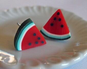 Watermelon Earrings - Food Jewelry - Polymer Clay