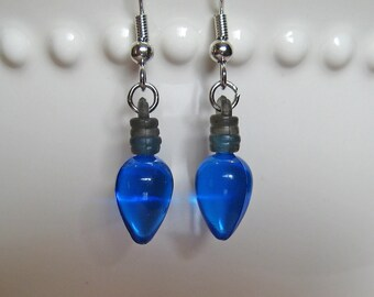 Holiday Light Bulb Earrings - Old Fashioned Blue - Christmas Lights