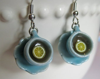 Food Jewelry, Porcelain Tea Cup Earrings - Miniature Dollhouse Jewelry