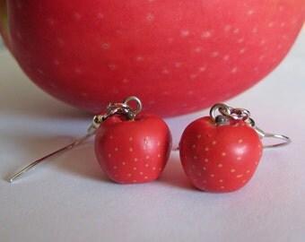 Apple Earrings - Food Jewelry - Teacher Gift
