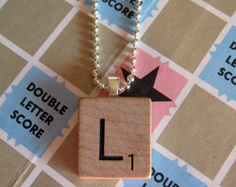 Scrabble Tile Letters Necklace - Personalized Gift - Initial Necklace